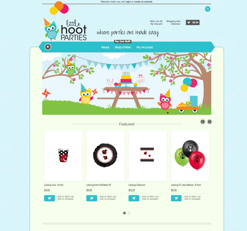 Website Design - Little Hoot Parties