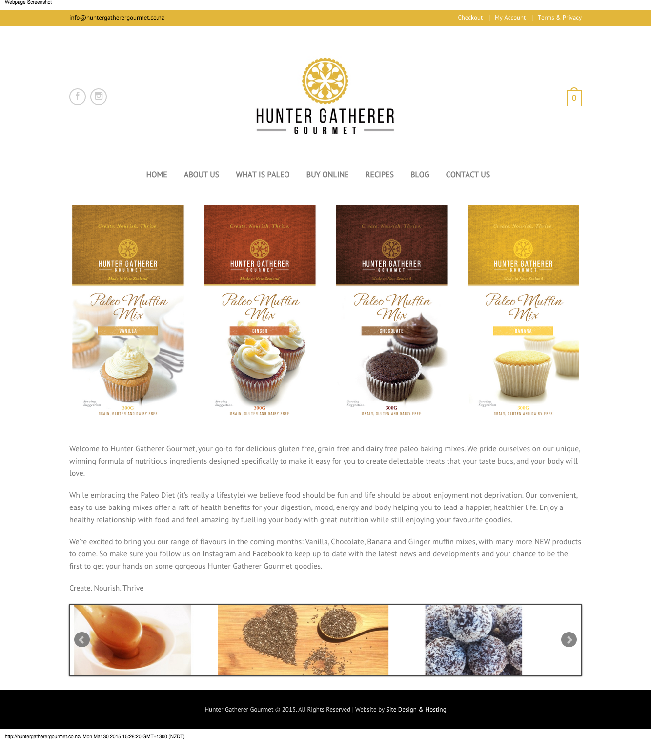 Website Design - Hunter Gatherer Gourmet
