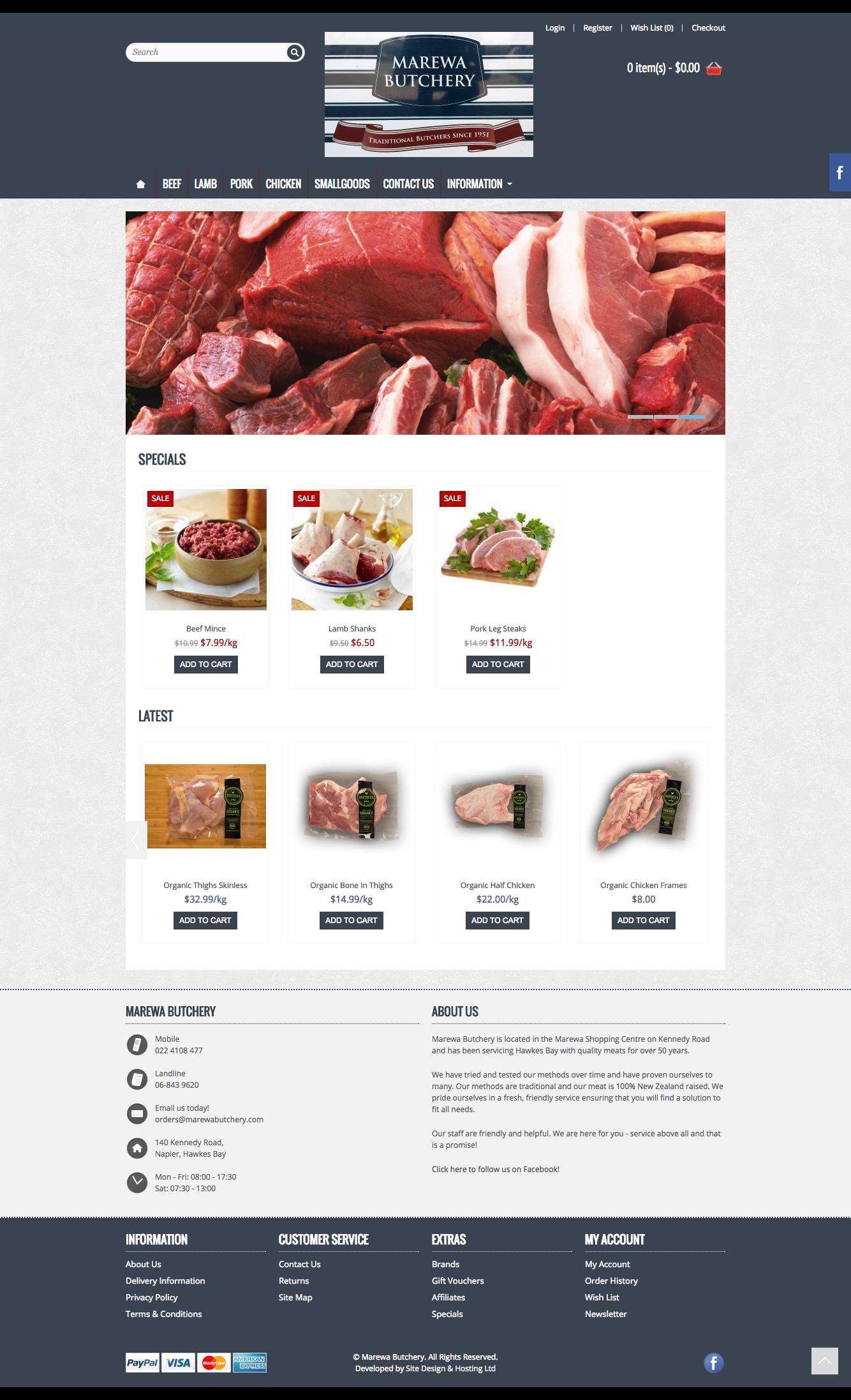 Website Design - Marewa Butchery