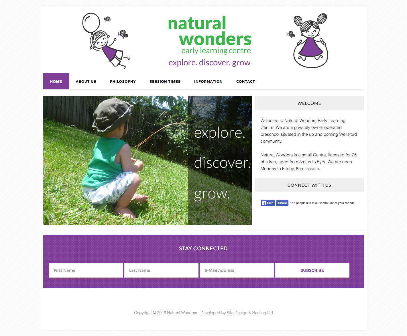 Website Design - Natural Wonders Childcare